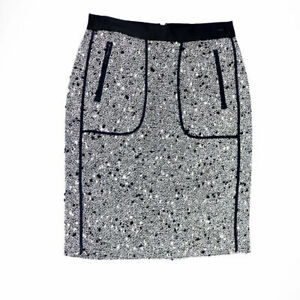 NEW J. Crew Collection Shimmer Tweed Boucle Silver Black Straight Pencil Skirt