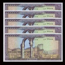 Lot 5 PCS, Lebanon 10 Livra, 1986, P-63, UNC