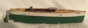 Ives Vixen Tin Toy Boat 1910s Large boat 13 inches long