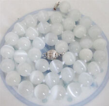 "Natural 8mm White Opal Round Beads Gemstone Necklace 18 ""AAA"