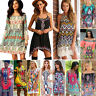Boho Womens Tribal  Floral Off-shoulder Mini Dress Beach Casual Summer Sundress