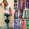Women Yoga Pants Stretch High Waist Floral Wide Leg Palazzo Long Flared Trousers