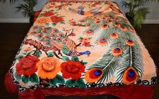 ☀️NEW 6 POUNDS SOFT KING KOREAN MINK BLANKET Plush Throw Peacocks Floral Flowers