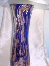 "Vintage Murano Art Glass 12.25"" Tall Cobalt Blue Embedded Gold Vase Stunning"