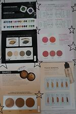 4pc Lot Younique FOUNDATION / BRONZER / BLUSHER / PIGMENT POWDER SAMPLE CARDS
