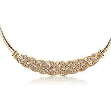 Ladies Crystal Pendant Chain Choker Chunky Statement Bib Charm Necklace Jewelry
