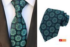 Verde y Azul Marino Estampado Hecho a Mano 8cm 100% Corbata de Seda