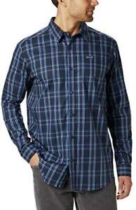 Columbia Vapor Ridge III Long Sleeve Shirt Azure Blue Tartan Size 3XT $50