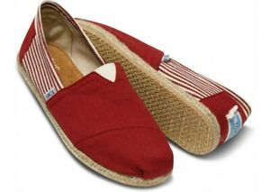 NWT Tom's Women's shoes Stripe University Classic Rope Sole 100% Authentic