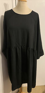 Monki Size Large Oversized Black Smock Dress New & Tagged