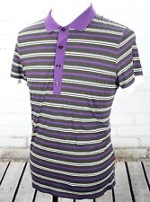 HUGO BOSS Golf Polo Shirt Men's Size L Purple Black White Stripes 100% Cotton