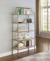 Modern 5-Tier Tempered Glass Shelves Bookcase ShelfMatte Gold 804393