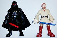 """Star Wars Playskool Heroes Jedi Force - Darth Vader & Obi-Wan Lot of 5"""" Figures"""