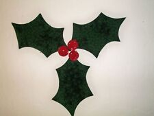 Holly & Berries Quilt appliques Set for quilt blocks or tops Christmas fabric