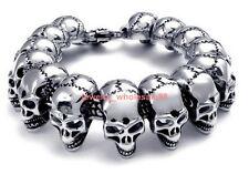 skeleton chain Gothic Men's jewelry Large Skull Stainless Steel Bracelet biker