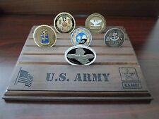 Military Challenge Coin Holder/Display 8x10, US Army Stencil, Walnut