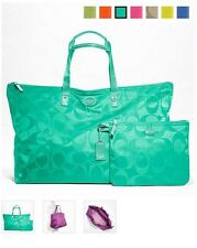 BRAND NEW COACH SIGNATURE NYLON LARGE PACKABLE WEEKENDER BAG - F77316 AQUA