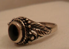 Vintage Antique Estate~Black Onyx 925 Sterling Silver Filigree Ring Size 5.75