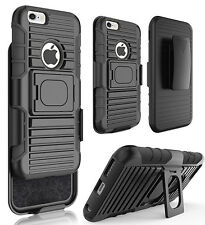 "BLACK GRIP RING CASE COVER + BELT CLIP HOLSTER STAND FOR iPHONE 6 6s (4.7"")"