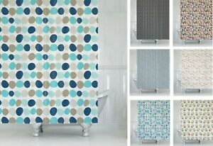 Extra Long or Wide Bathroom Fabric Shower Curtains, Geometric, Nautical, Birds