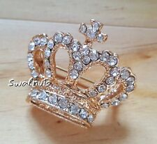 Gold Imperial CROWN Brooch Pin Clear Rhinestone Crystal Diamante Gem Jewellery