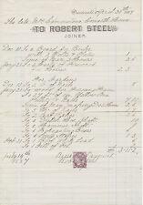 2409 DUNDONALD, Robert Steel, Joiner – 1884 very attractive nice vintage invoice