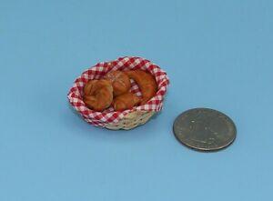 Fabulous 1:12 Scale Dollhouse Miniature Basket of Baked Bread Rolls #WCFD114