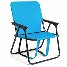 """BCP 12"""" Height Seat Backpack Folding Chair Outdoor Beach Camping -Blue"""