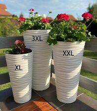 Blumenkübel Slim Rund Welle Extra Hoch Blumentopf weiß SET 3: XL XXL 3XL