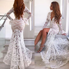 Sexy Lace White/Ivory Wedding Dress Front Split Long Sleeve Mermaid Bridal Gown