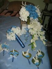 CASCADING WEDDING BOUQUET NOSEGAY CORSAGES BOUTINEERS BLUE CREAM SILVER 7 PIECE