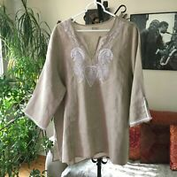 SYMPLE NYC sz 1X Beige Paisley Embroidered Linen Tunic Top Lagenlook