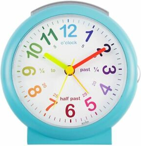 Acctim Lulu2 Alarm Clock Kids Time Teaching Non Ticking Silent Light Blue Child
