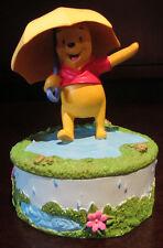 RARE Disney Enesco Winnie the Pooh April Showers Trinket Jewelry Box Figure