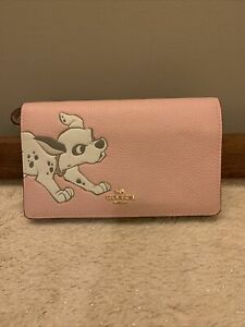 NWT - COACH x Disney Dalmation Crossbody Pebbled Leather Clutch Pink Style 91189
