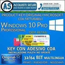 Microsoft Windows 10 Pro 32/64 bit WIN 10 Pro licenza key + COA fattura