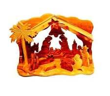 Nativity Scene Christmas Set Jesus Hand Made Carved Wood Figures Mary Bethlehem