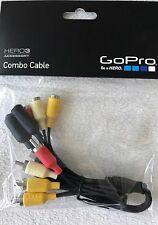 Genuine GoPro Combo Cable RCA Composite Audio Video TV + 3.5MM Mic Adapter