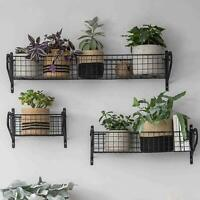 Indoor Steel Basket Shelves Kitchen Bathroom Wall Mounted Shelving Unit Racking