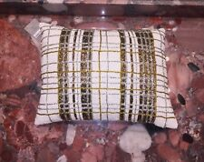 Nwt Kim Seybert Neiman Marcus White Gold Plaid Beaded Luxury Throw Pillows 12x16