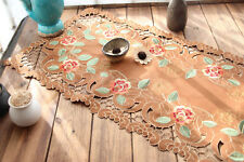 Lovely Rose Embroidery All Over Cutwork Coffee Color Table Runner