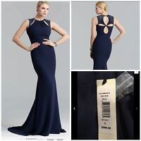 new badgley mischka eg1249Navy Blue Crepe Beaded Evening Gown$990autentic$199