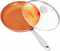 Copper Nonstick Frying Pan Induction Bottom 9.5 Inches with Glass Lid