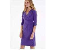 Versatile Soft Purple, Slinky Jersey Dress with Wrap Effect Bodice size 10