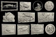 STL 3D Models #FISHES# LOT 10+1 PCS  for CNC Aspire Artcam 3D Printer