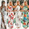 Womens Boho Floral Long Maxi Dress Summer Halter Beach Evening Cocktail Party