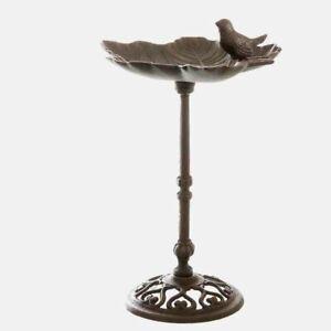 Antique Bird,Gründerzeit Bird Bath With Floral Bowl, Cast Iron Braun