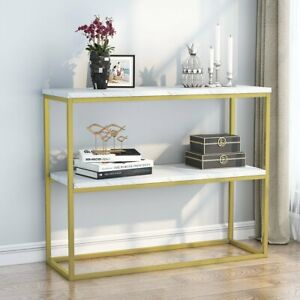 Tribesigns Narrow Console Table Marble Table Top with Gold Frame for Living Room
