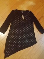 NWT Travelers by Chico's Sierra Studded Top 3/4 sleeve black size 0