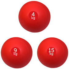 SET OF 3 RED FXR SPORTS NO BOUNCE SLAM BALLS BALL FITNESS GYM (4KG, 9KG, 15KG)